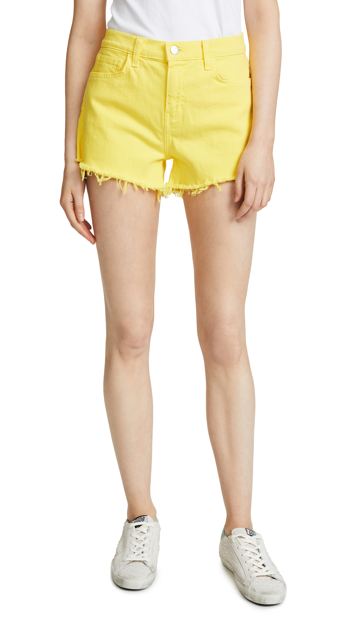 L'AGENCE Ryland Shorts In Neon Yellow