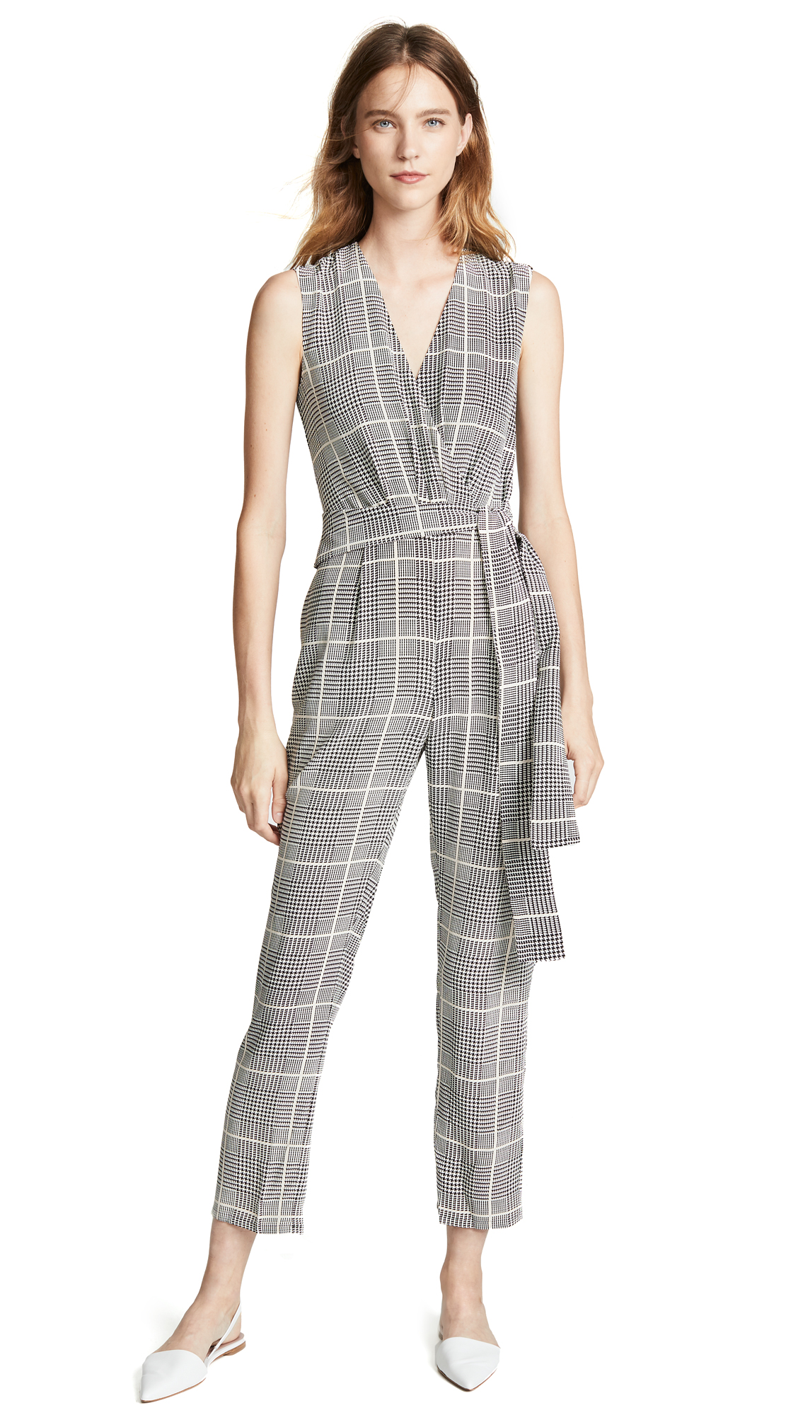 Julia Prince Of Wales Checked Silk-Crepe Jumpsuit in Black from L'AGENCE