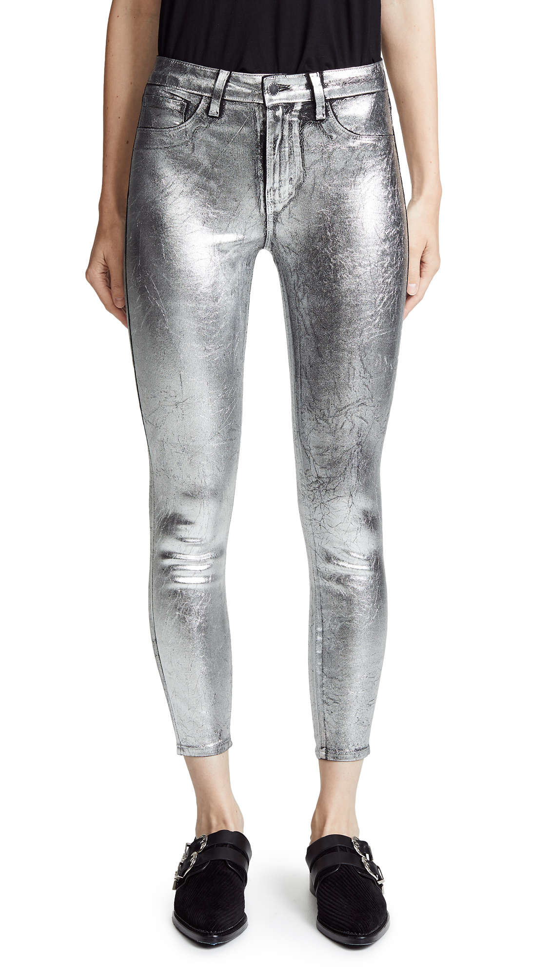 Margot High Rise Skinny Jeans, Silver Foil