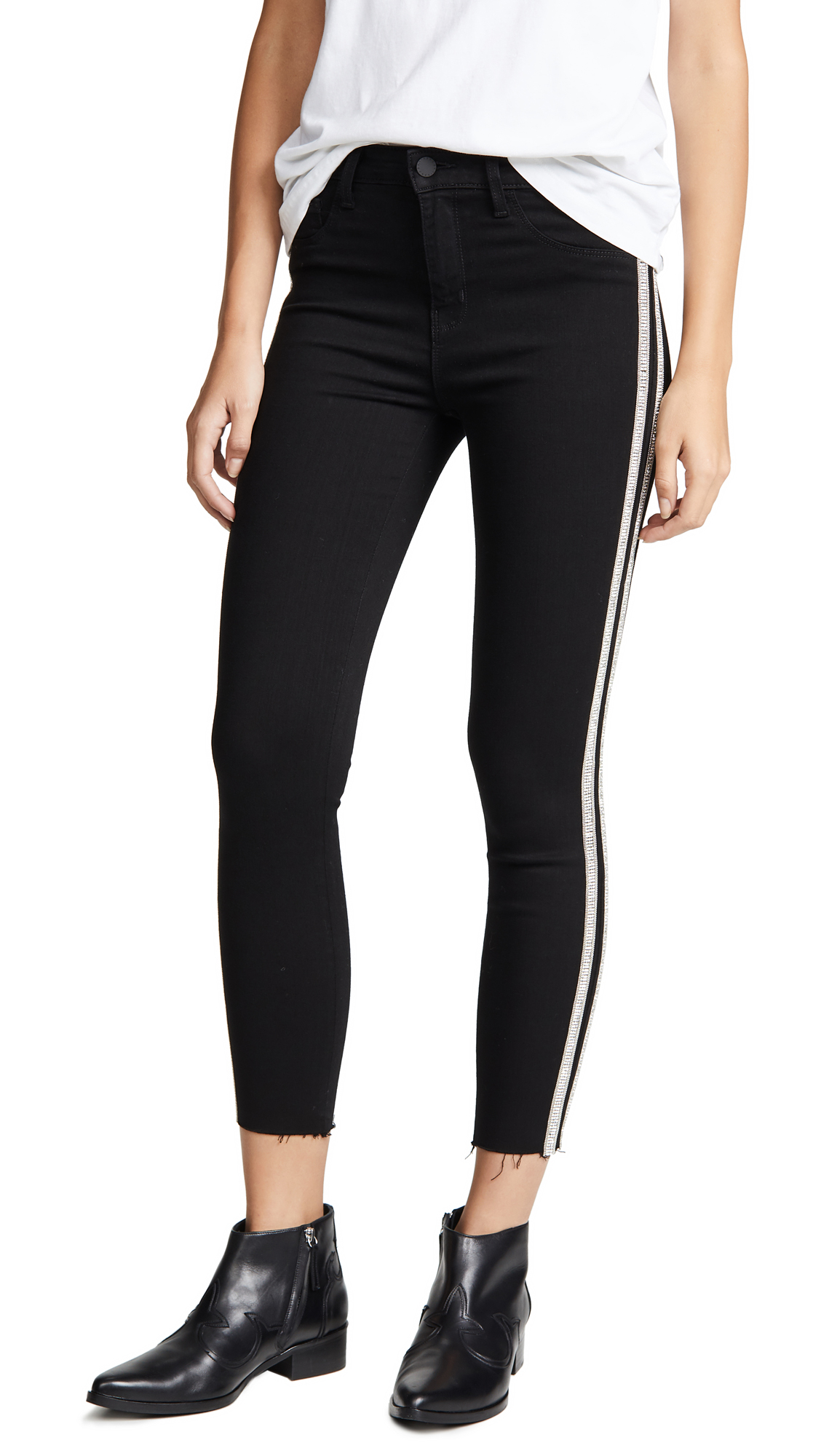 Margot High-Rise Crystal Stripe Skinny Jeans, Noir