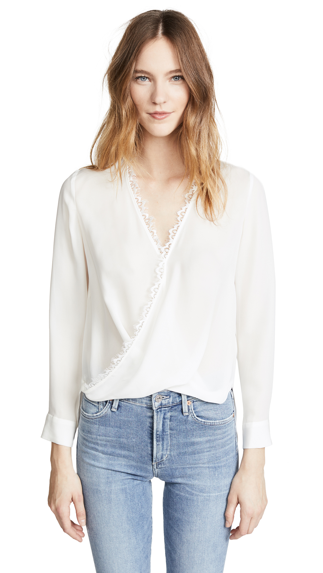 LAGENCE Rosario Blouse with Lace - Ivory/Ivory