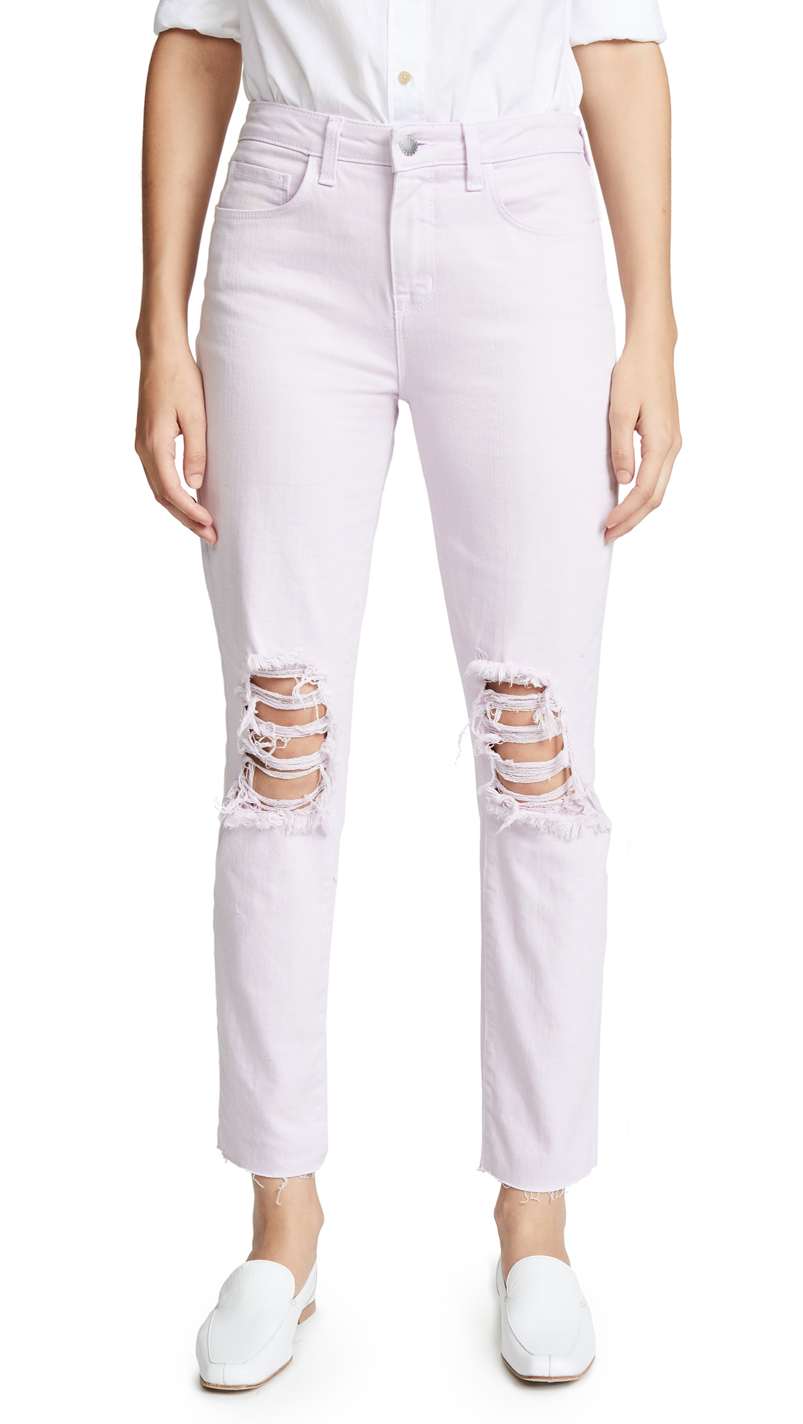 L'AGENCE Luna High Rise Straight Jeans In Violet Destruct