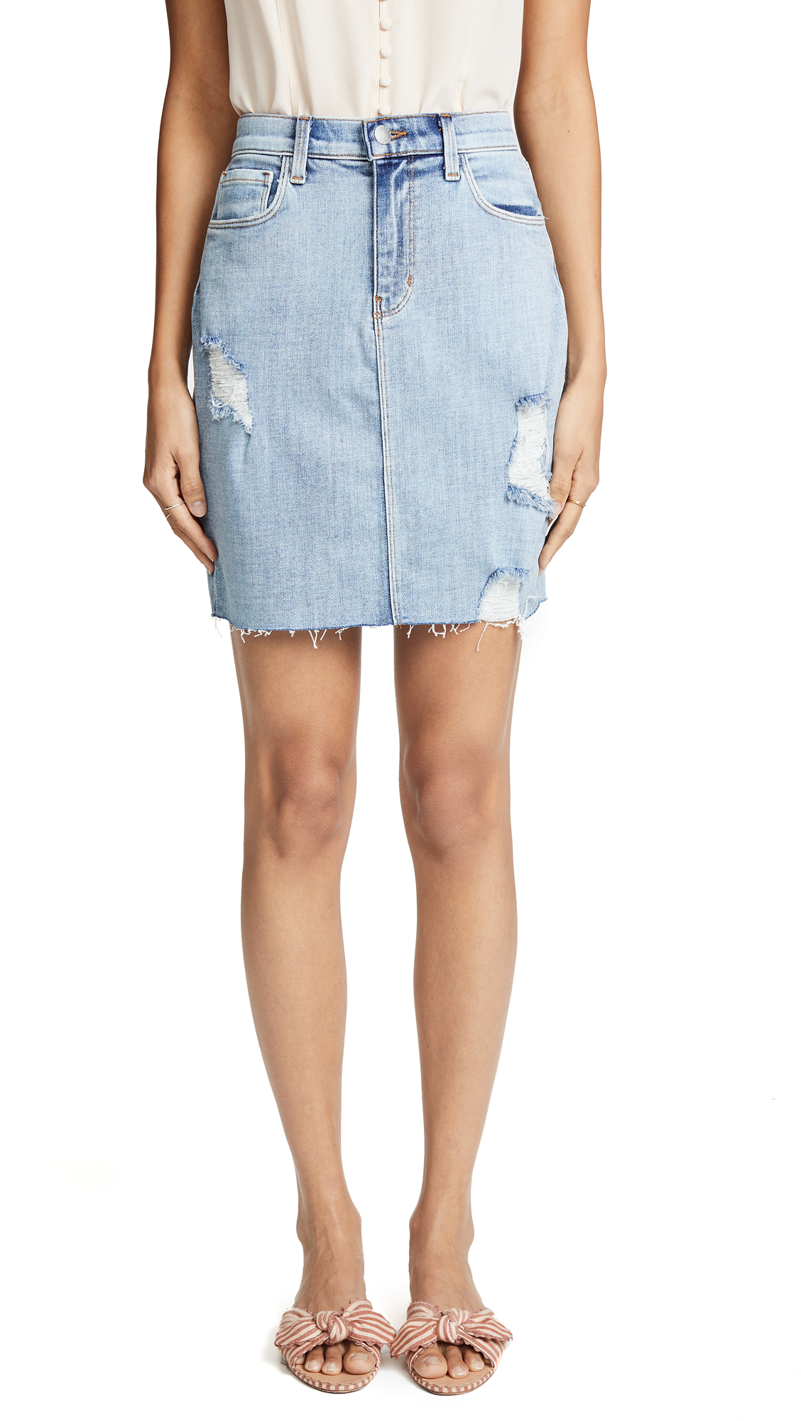 L'AGENCE Manuela High Rise Skirt In Bluebird Destruct