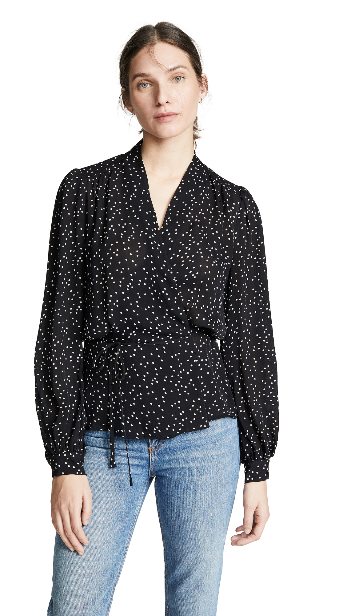 Cara Dot-Print Silk Wrap Blouse in Black/Ivory from L'AGENCE