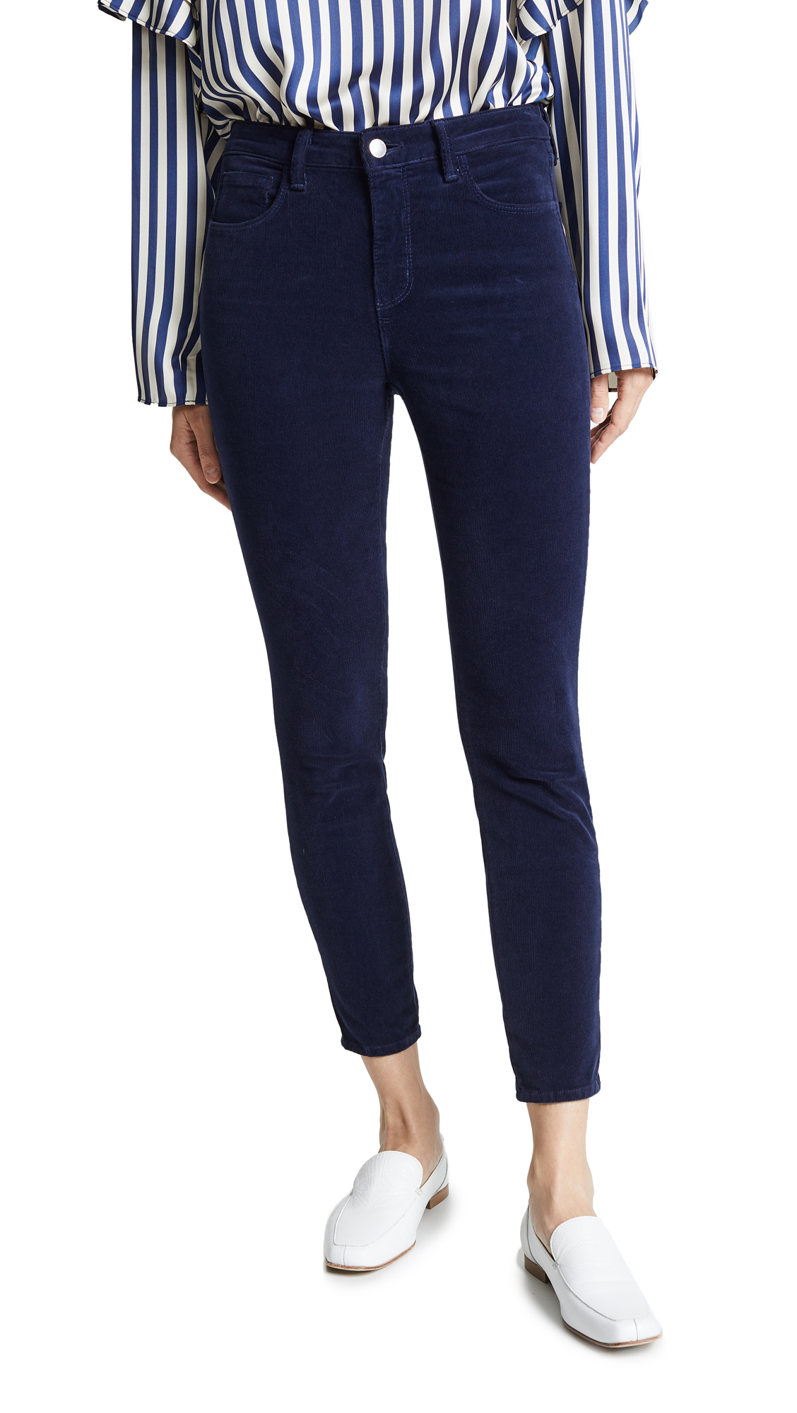 L'AGENCE Margot High Rise Corduroy Skinny Jeans In Navy