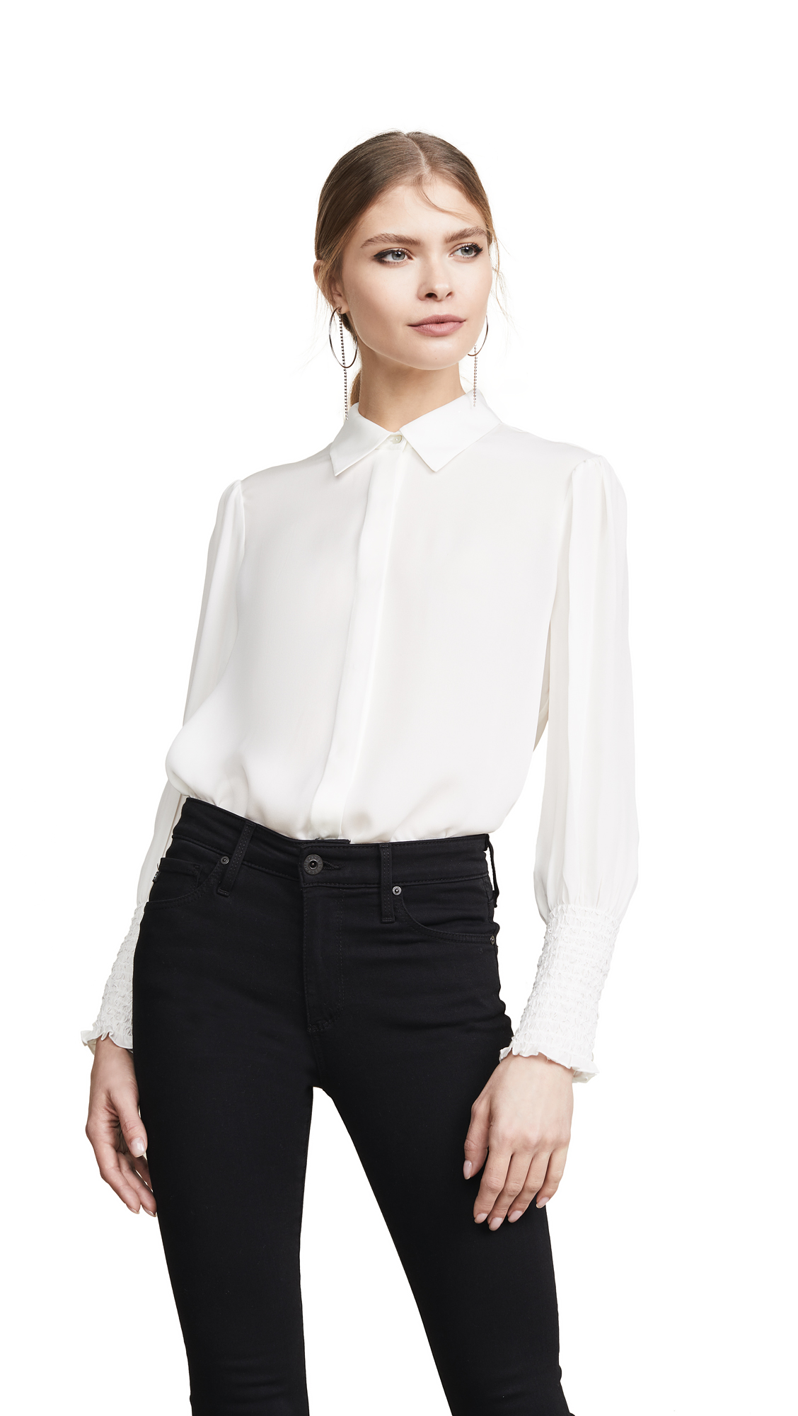 Buy L'AGENCE online - photo of L'AGENCE Lucien Diamond Smocked Cuff Blouse