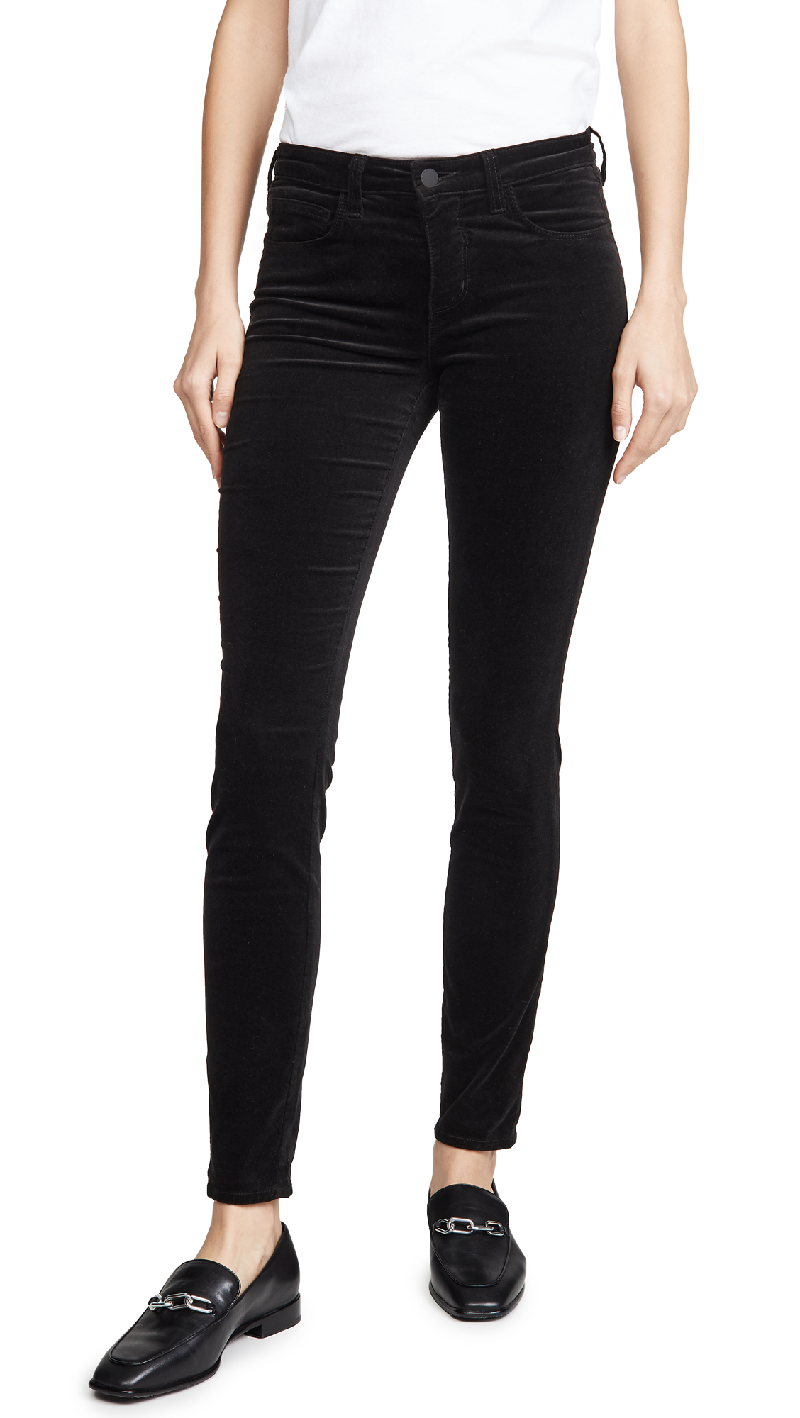 Buy L'AGENCE online - photo of L'AGENCE Marguerite Velvet High Rise Skinny Pants