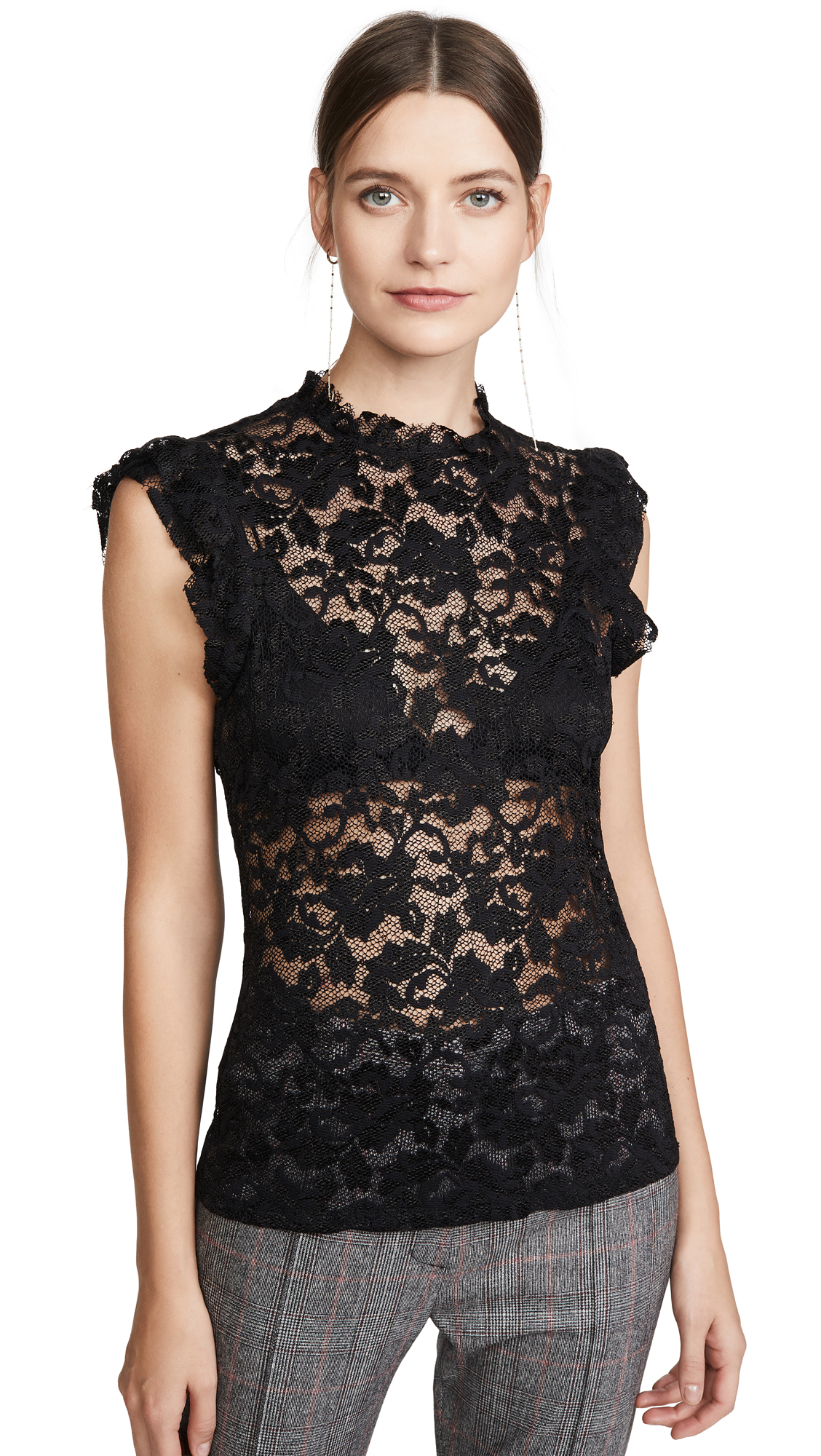 Buy L'AGENCE online - photo of L'AGENCE Kassia Ruffle Lace Top