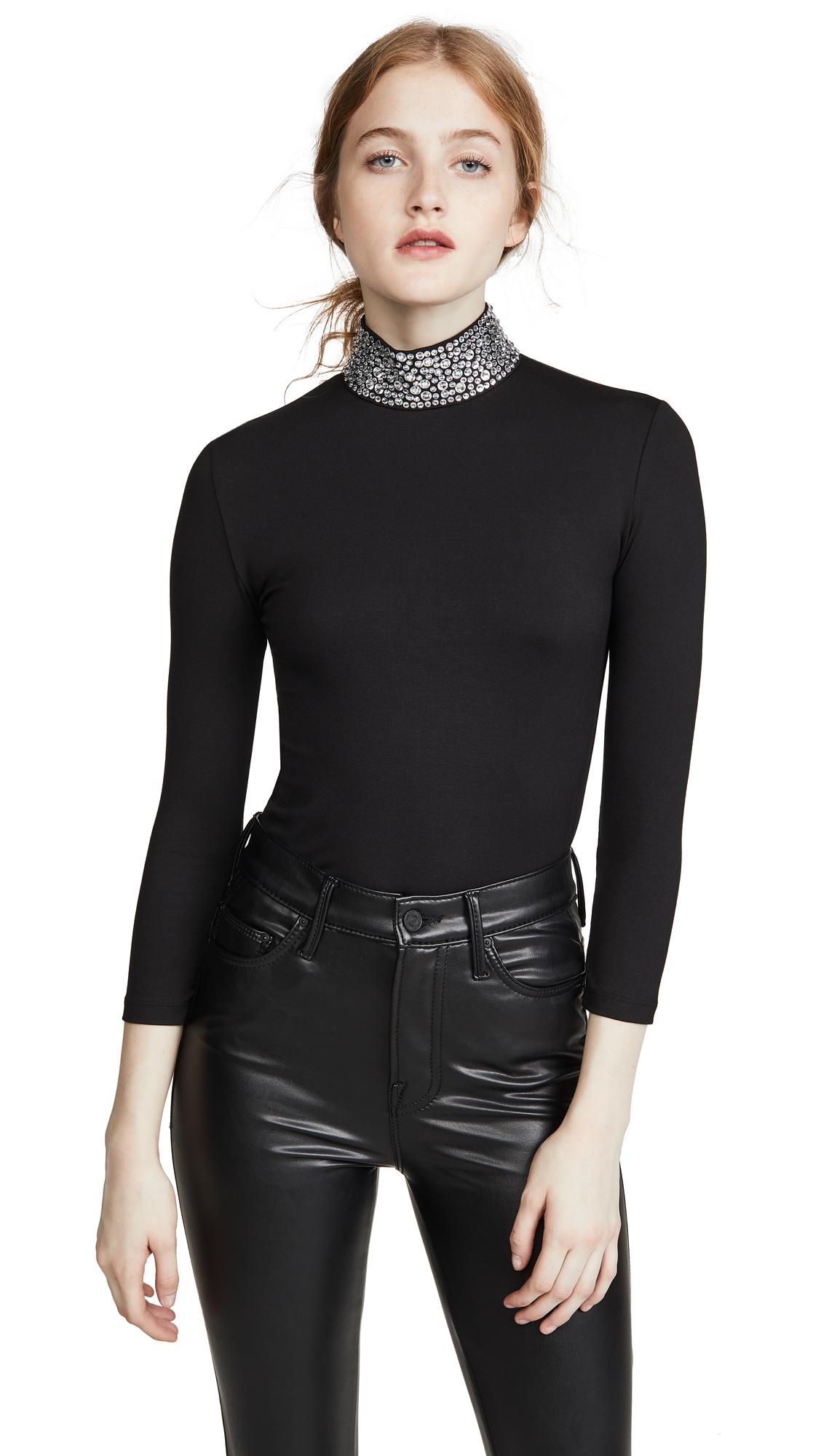 Buy L'AGENCE online - photo of L'AGENCE Mya Embellished Mock Neck Top