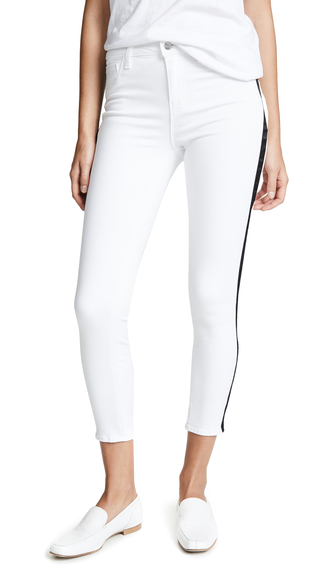 Buy L'AGENCE online - photo of L'AGENCE Margot High Rise Skinny Jeans with Tux Stripe