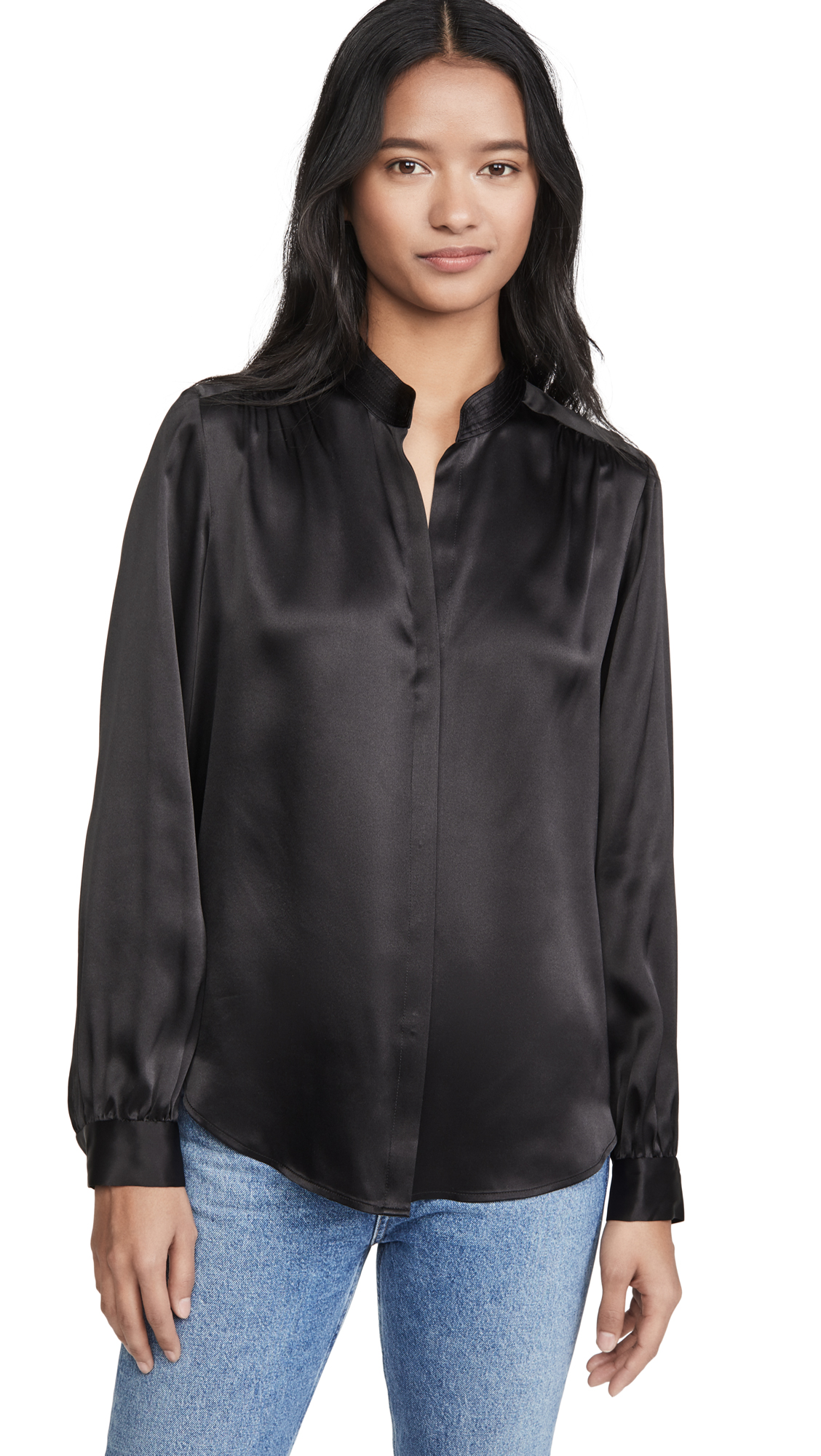 L'AGENCE Bianca Band Collar Blouse - 60% Off Sale