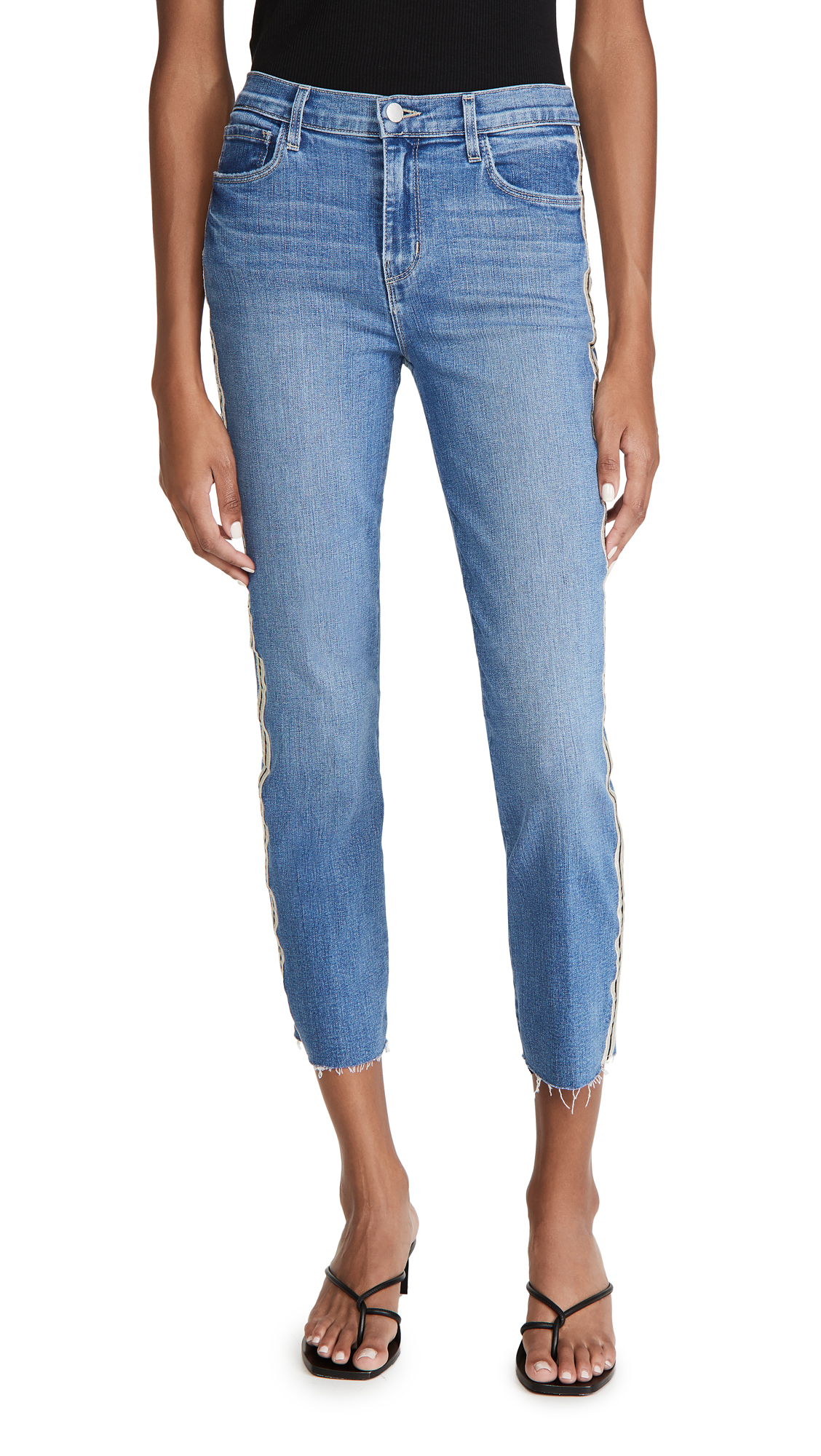 L'AGENCE Sada Side Stripe Crop Slim Jeans