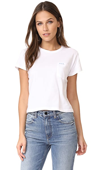 Liana Clothing Mrs. T-Shirt with Baby Blue Embroidery - White