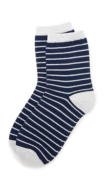 Liana Clothing Lurex Striped Socks In Navy