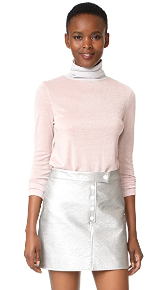Liana Clothing Full High Turtleneck Pullover In Pink Glitter With Silver Glitt