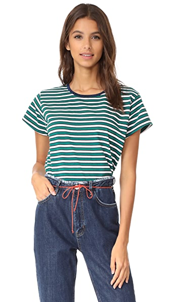 Liana Clothing Brother Stria Tee - Green, Black & White Stripes