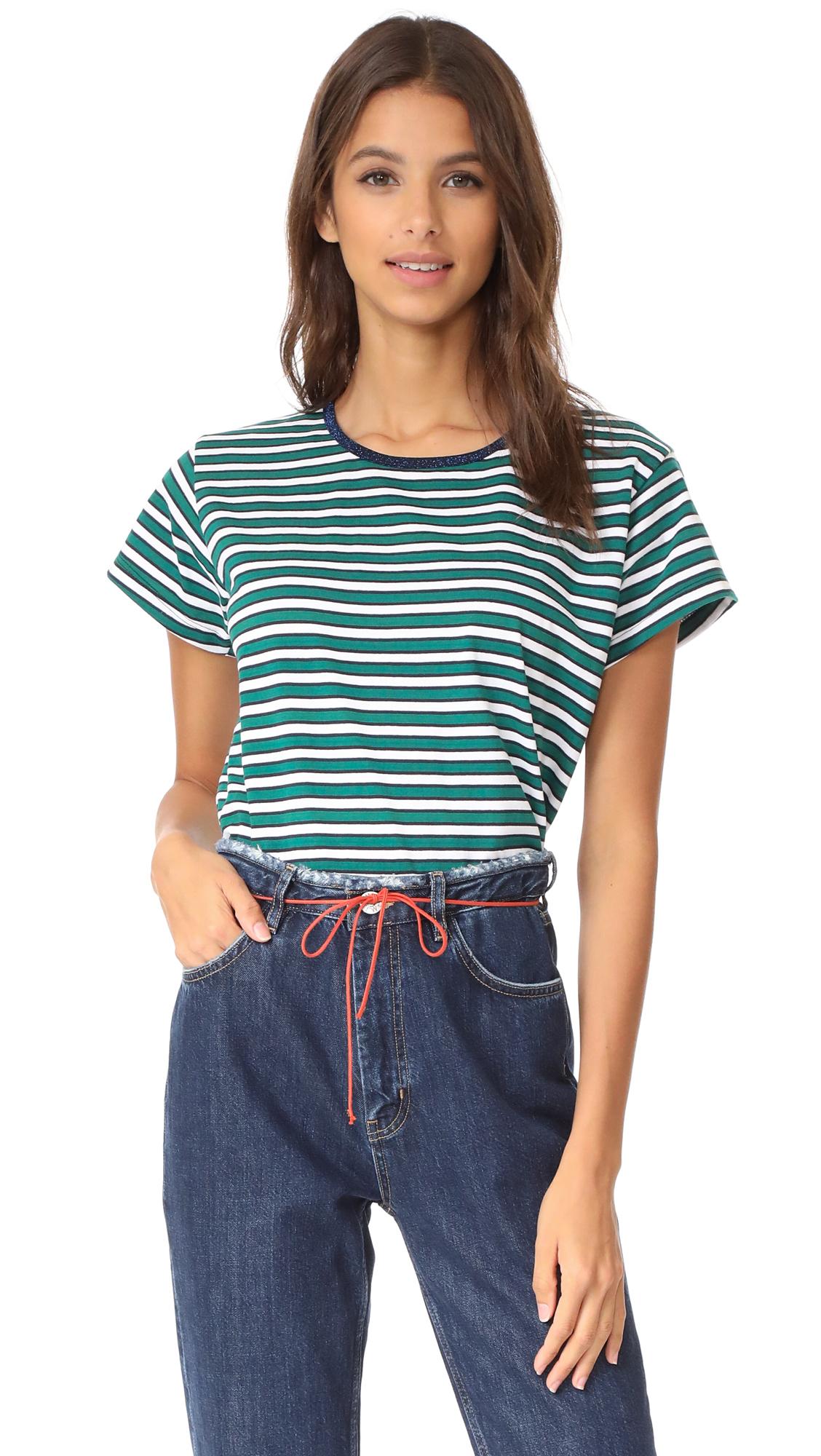 Liana Clothing Brother Stria Tee - Green, Black & White Stripes