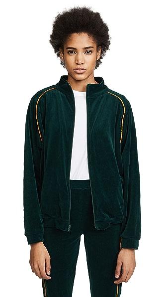 Liana Clothing Plush Zip Jacket In Hunter/Gold
