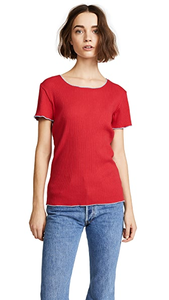 Liana Clothing The Row Tee In Red/Baby Blue