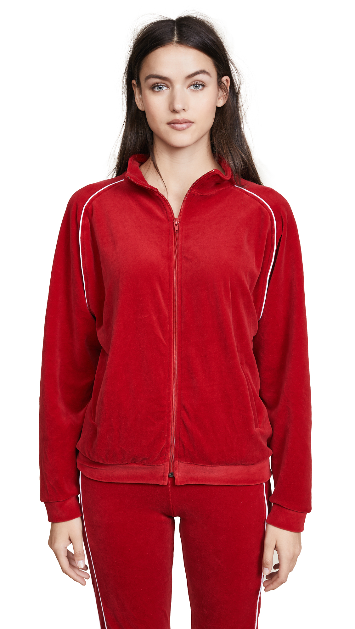 Liana Clothing The Plush Zip Up Tee In Red/White