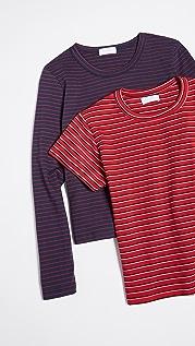 Leset Комплект из двух винтажных футболок в полоску Essentials
