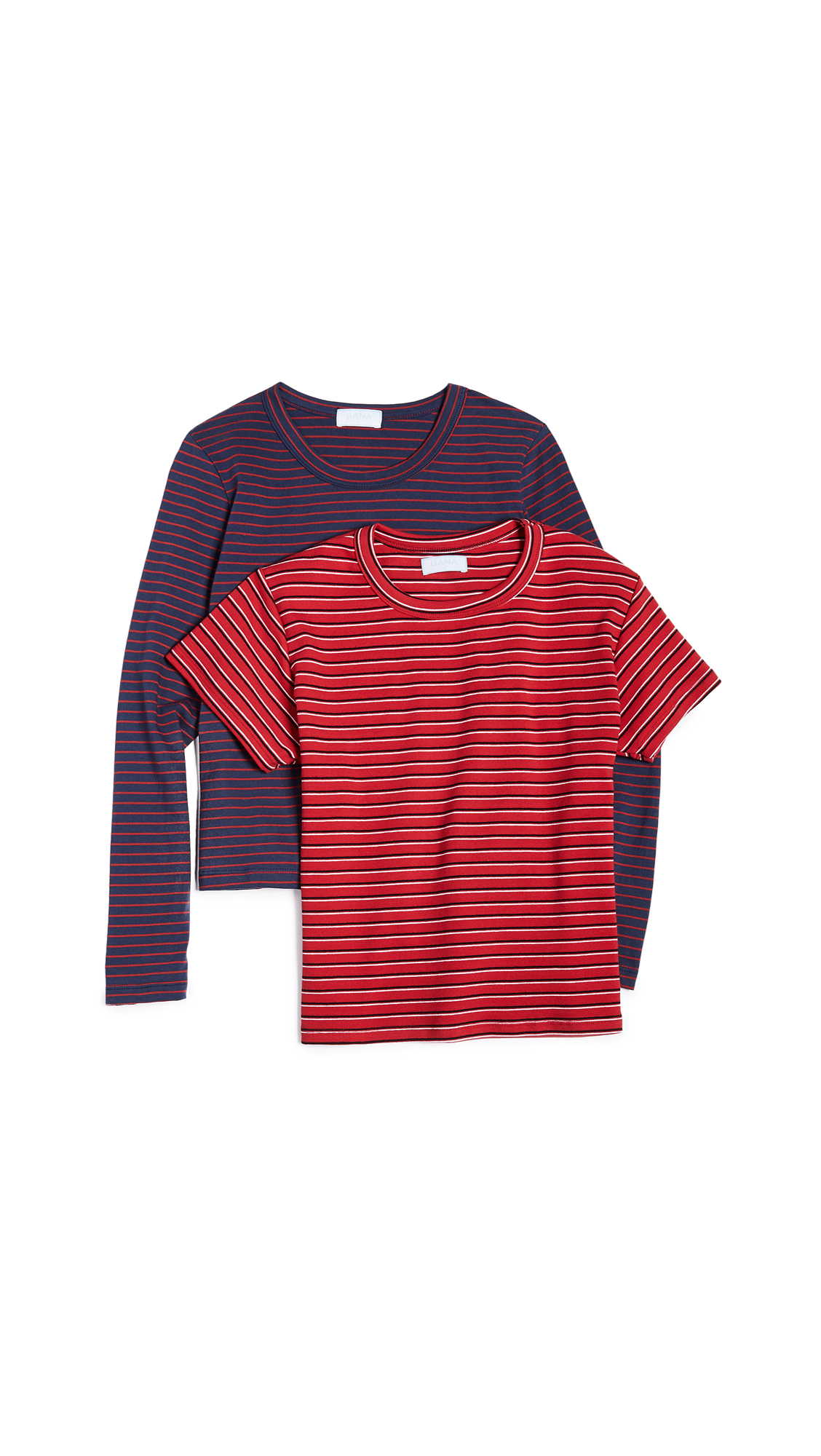 LIANA CLOTHING The Vintage Stripe Essentials Tee 2 Pack in Navy & Red Stripe Combo