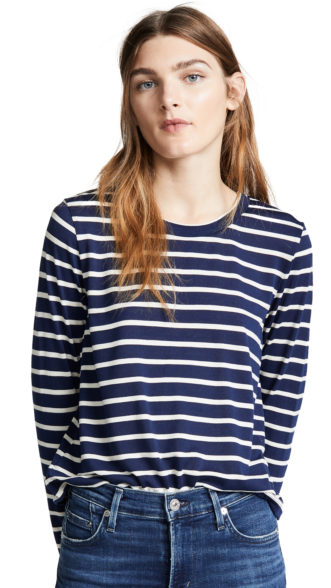 LIANA CLOTHING The Striped Millie Tee in Navy/White Stripe
