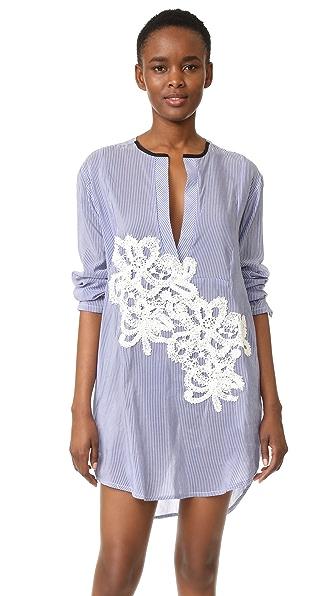 LILA. EUGENIE Striped Jesi Flower Shirtdress