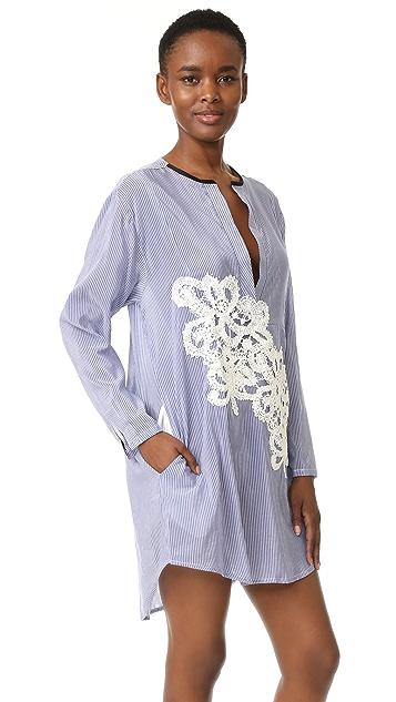 LILA.EUGENIE Striped Jesi Flower Shirtdress