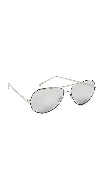 Linda Farrow Luxe Mirrored Aviator Sunglasses - White Gold/Platinum