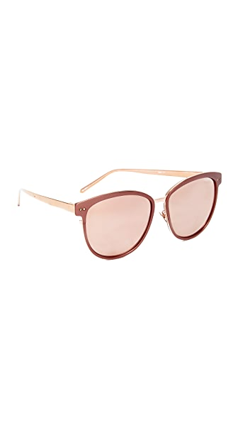 Linda Farrow Luxe Oversized Mirrored Sunglasses - Copper/Rose Gold