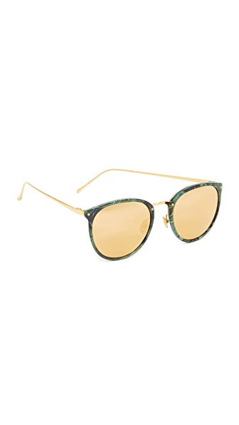 Linda Farrow Luxe Round Mirrored Sunglasses - Jade/Gold