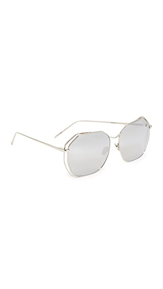 Linda Farrow Luxe Geometric Platinum Mirrored Sunglasses In White Gold/Platinum