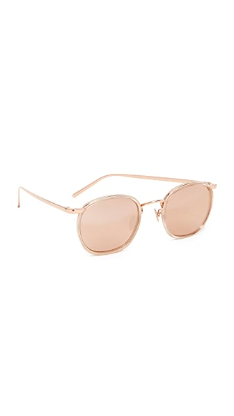 Linda Farrow Luxe Round Mirrored Sunglasses - Ash/Rose Gold
