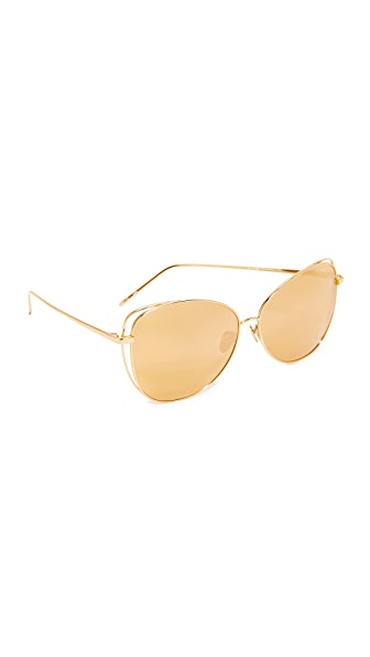 Linda Farrow Luxe Cat Mirrored Sunglasses - Gold/Gold