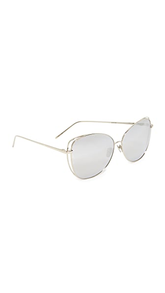 Linda Farrow Luxe Зеркальные солнцезащитные очки «кошачий глаз»