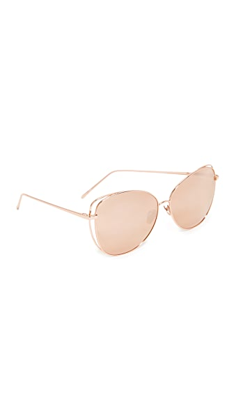 Linda Farrow Luxe Cat Mirrored Sunglasses - Rose Gold/Rose Gold