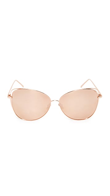 Linda Farrow Luxe Cat Mirrored Sunglasses