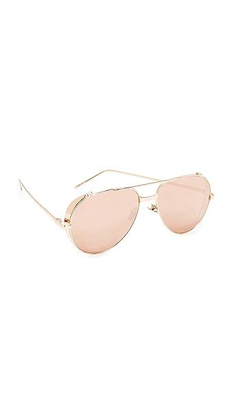 Linda Farrow Luxe Side Shield Aviator Mirrored Sunglasses - Rose Gold/Rose Gold