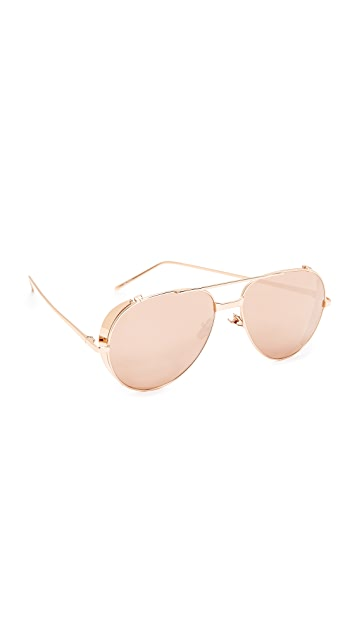 Linda Farrow Luxe Side Shield Aviator Mirrored Sunglasses