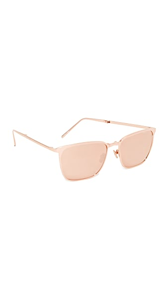 Linda Farrow Luxe Mirrored Square Sunglasses - Rose Gold/Rose Gold
