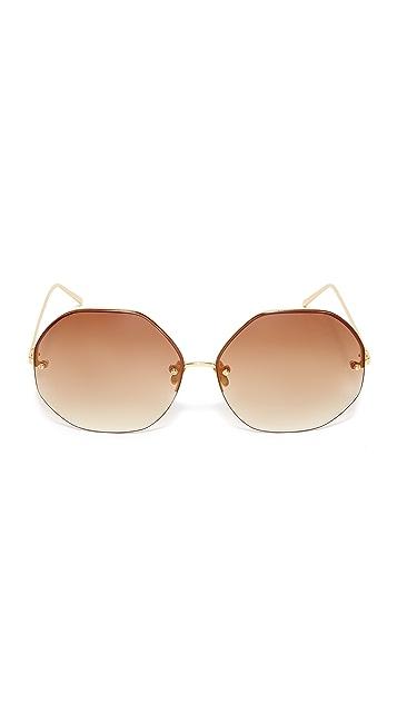 Linda Farrow Luxe 22k Gold Plate Geometric Sunglasses