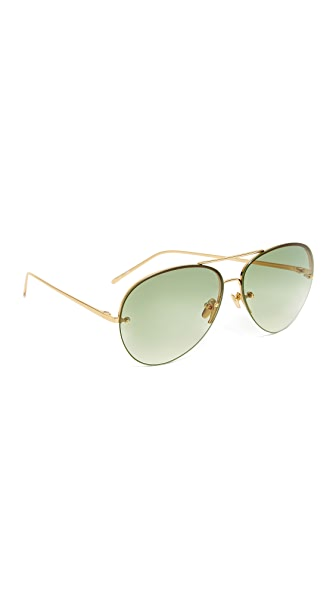 Linda Farrow Luxe Aviator Sunglasses - Yellow Gold/Green Multi