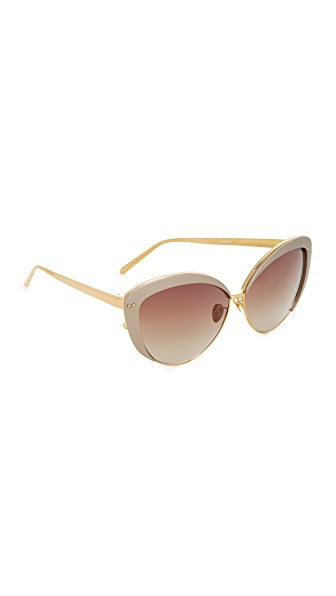 Linda Farrow Luxe Cat Eye Sunglasses - Taupe/Rose Brown