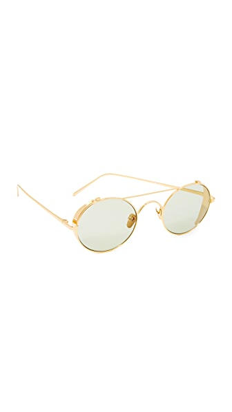Linda Farrow Luxe 22k Gold Plate Round Brow Bar Sunglasses - Gold/Green