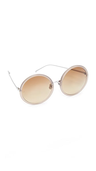 Linda Farrow Luxe 18k White Gold Plate Round Oversized Sunglasses