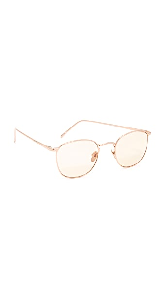 Linda Farrow Luxe 18k Rose Gold Plate Square Tinted Sunglasses - Rose Gold/Light Peach