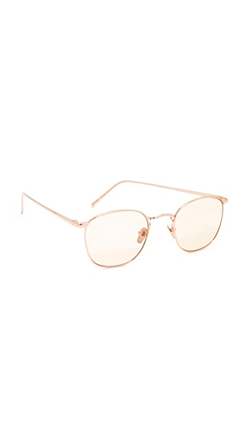 Linda Farrow Luxe 18k Rose Gold Plate Square Tinted Sunglasses