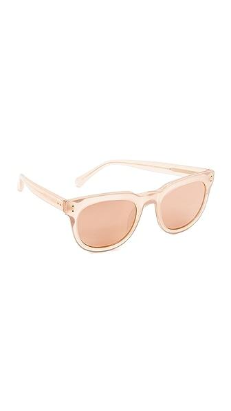 8855d9d1780 Linda Farrow Luxe Classic Stud Sunglasses In Milky Peach Rose Gold