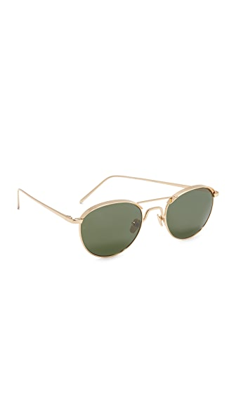 Linda Farrow Luxe 22k Gold Plate Round Brow Bar Sunglasses - Gold/Dark Green